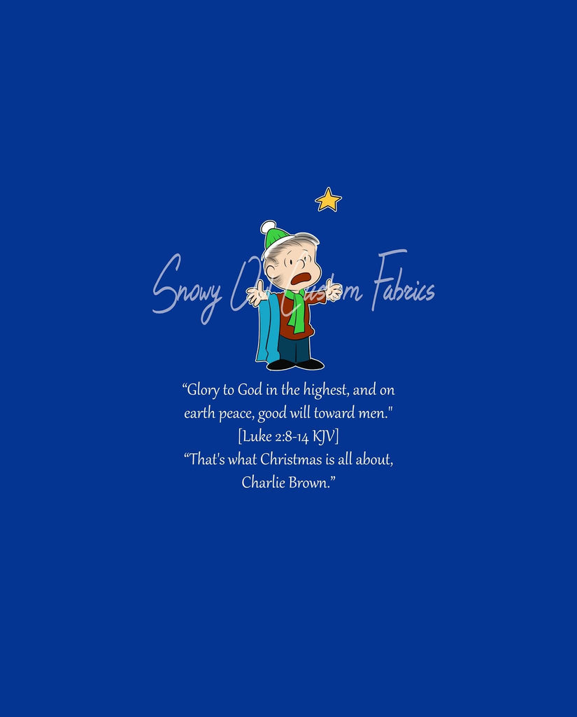 Linus Solid Blue Quote Panel