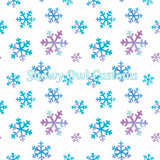 Winter Snowflakes On White Stretch French Terry
