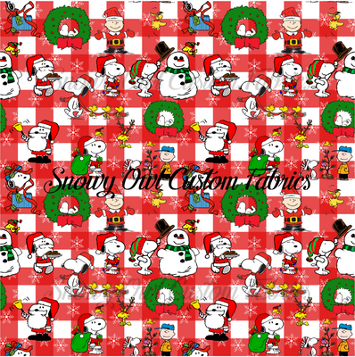 Red Gingham Peanuts Christmas - SOC Unlimited