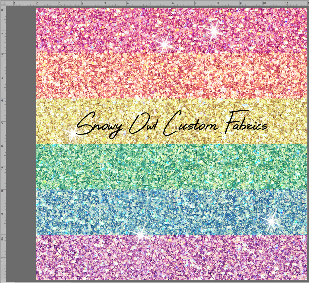 Rainbow Stripe Faux Glitter - SOC Unlimited