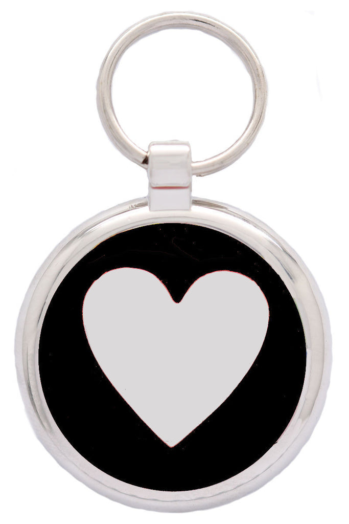 Black Love Heart Pet Tag - Pawprint Pet Tags
