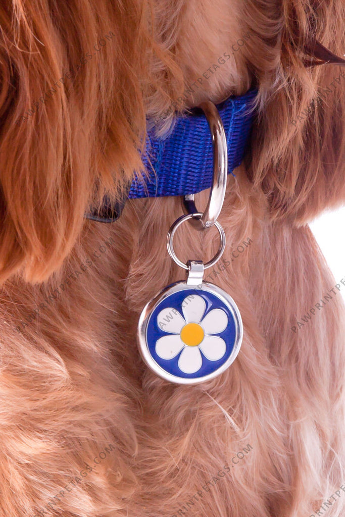 Dark Blue Daisy Pet Tag - Pawprint Pet Tags