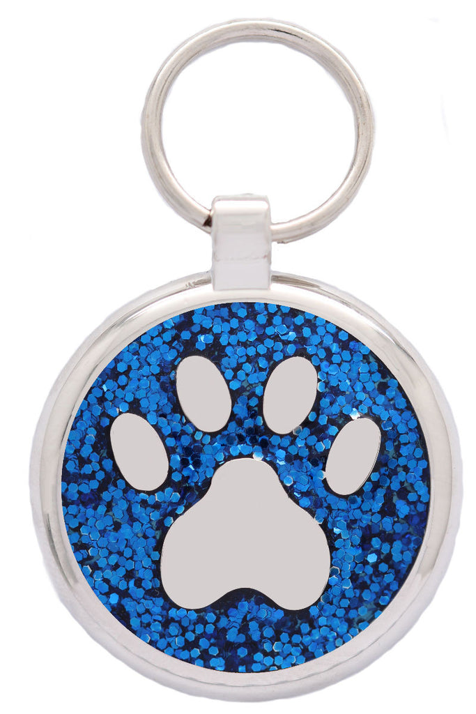 Blue Sparkle Pawprint Pet Tag - Pawprint Pet Tags