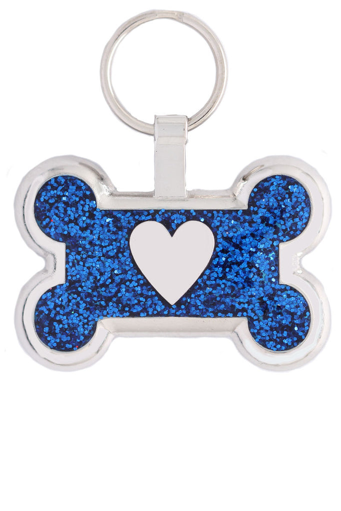 Blue Sparkle Bone Heart Pet Tag - Pawprint Pet Tags