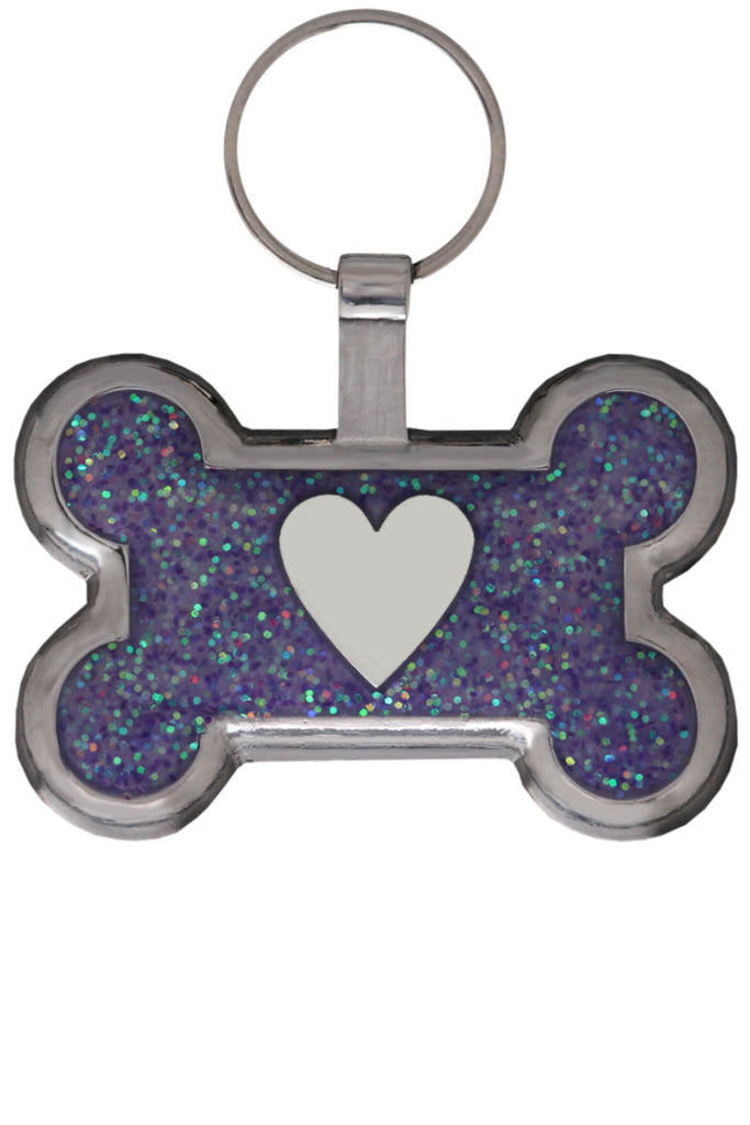 Light Purple Bone Heart Pet Tag - Pawprint Pet Tags