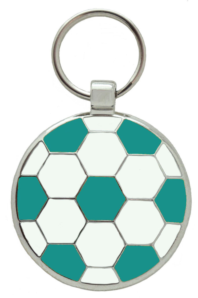Teal Football Pet Tag - Pawprint Pet Tags