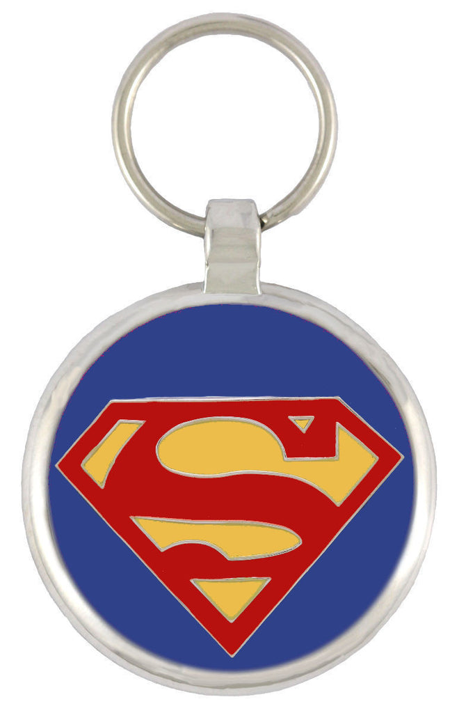 Superdog Dark Blue (Red S) Pet Tag - Pawprint Pet Tags