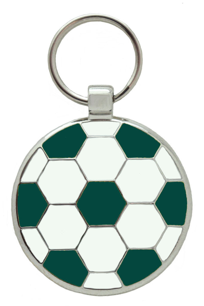 Dark Green Football Pet Tag - Pawprint Pet Tags