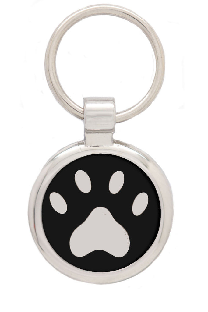Extra Small Black Pawprint Pet Tag - Pawprint Pet Tags