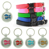 Black Puppy Collar & Extra Small Fish Pet Tag - Pawprint Pet Tags