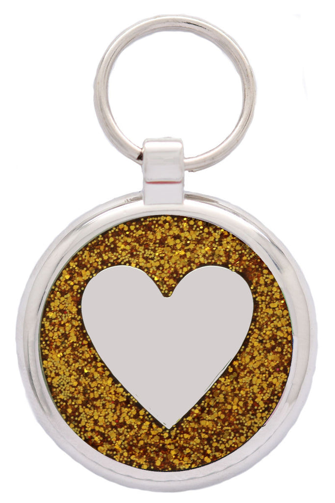 Gold Sparkle Heart Pet Tag - Pawprint Pet Tags