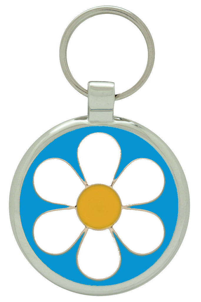 Light Blue Daisy Pet Tag - Pawprint Pet Tags