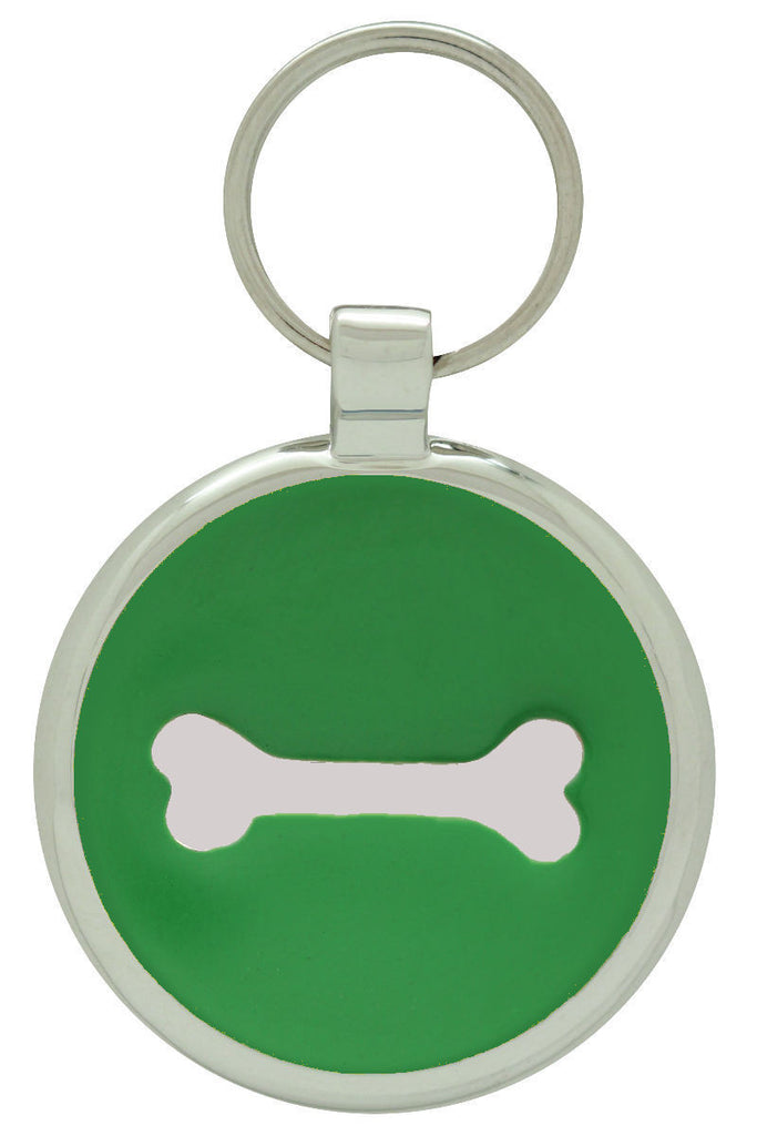 Lime Single Bone Pet Tag - Pawprint Pet Tags