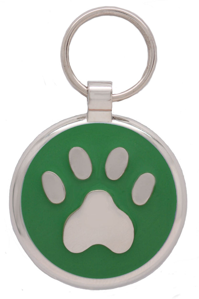 Lime Pawprint Pet Tag - Pawprint Pet Tags