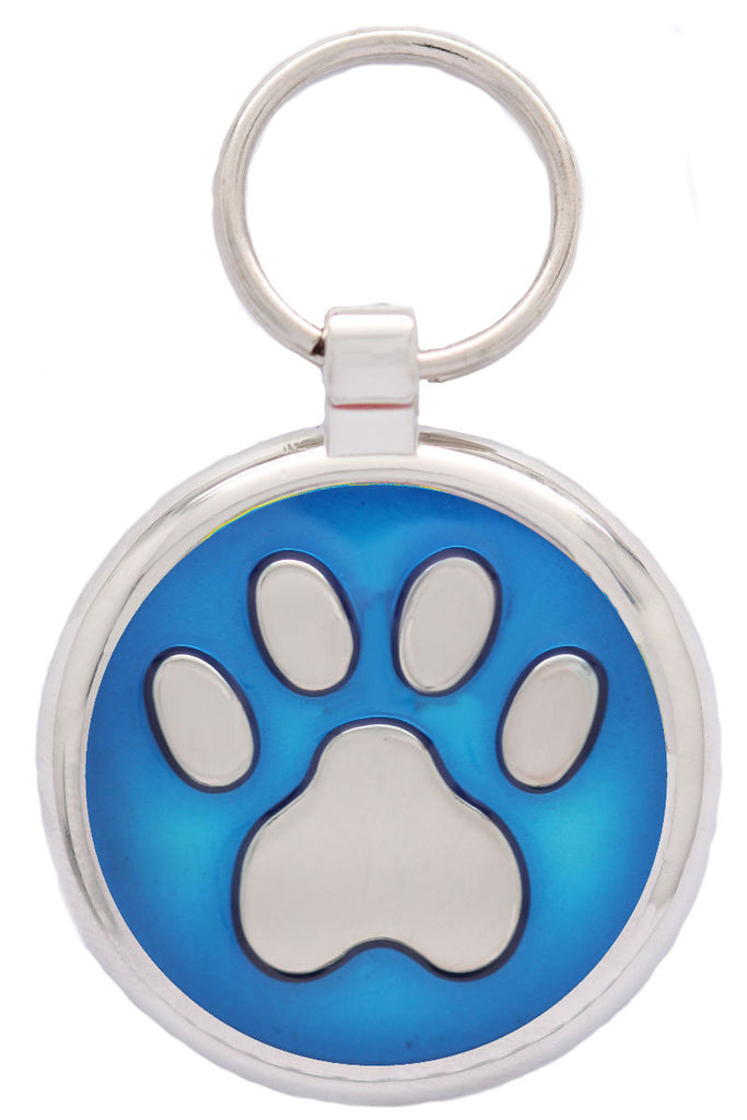 Metallic Blue Pawprint Pet Tag - Pawprint Pet Tags