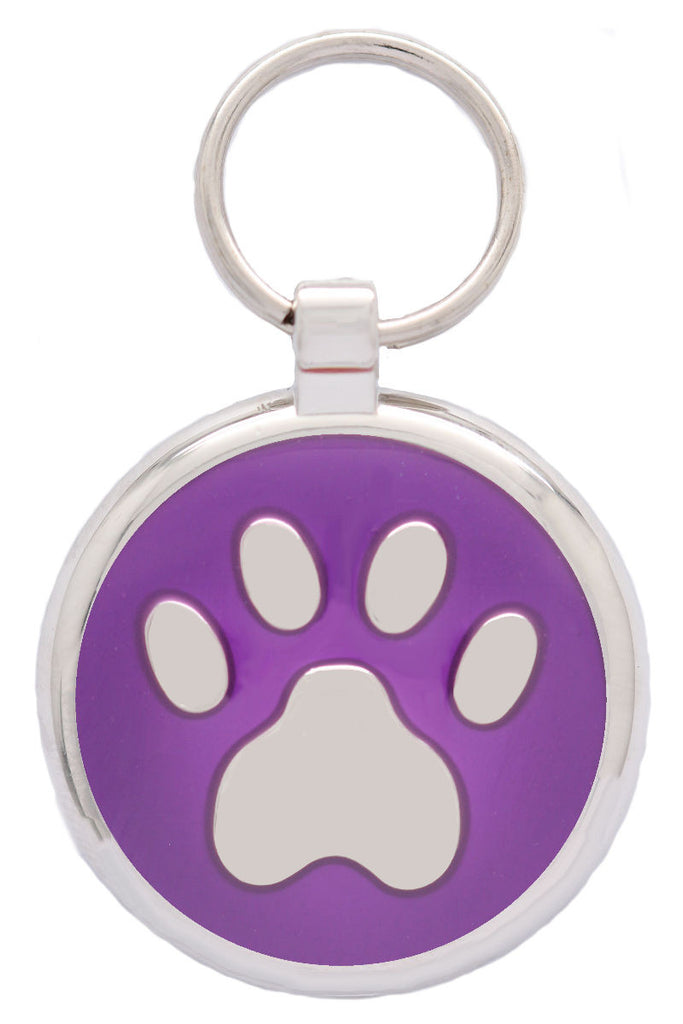 Metallic Purple Pawprint Pet Tag - Pawprint Pet Tags