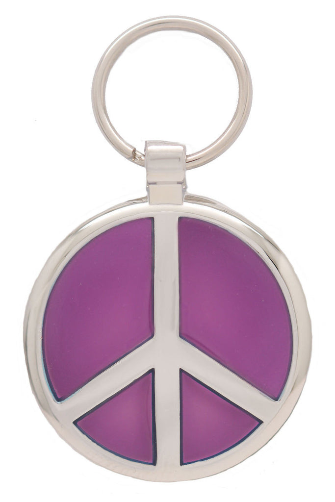 Metallic Purple Peace Pet Tag - Pawprint Pet Tags