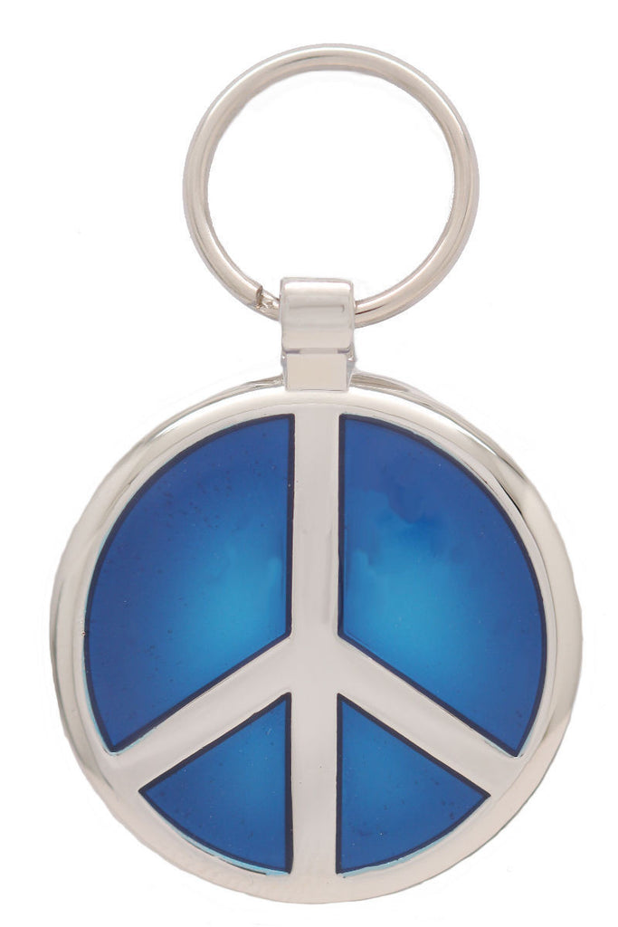 Metallic Blue Peace Pet Tag - Pawprint Pet Tags