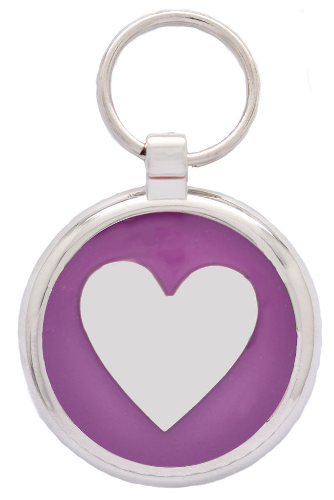 Metallic Purple Heart Pet Tag - Pawprint Pet Tags