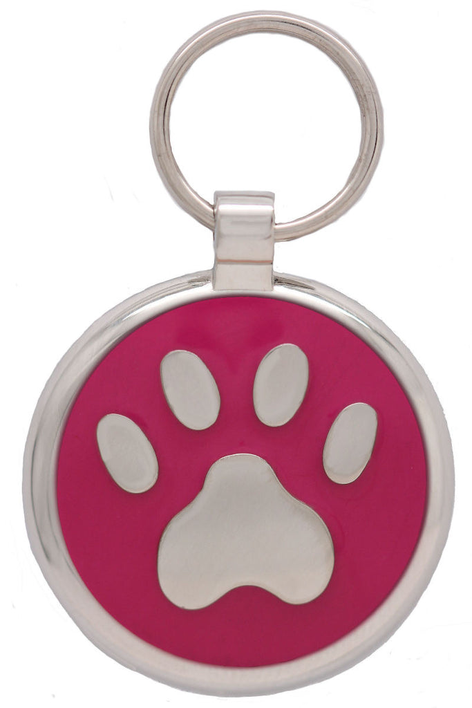 Bright Pink Pawprint Pet Tag - Pawprint Pet Tags