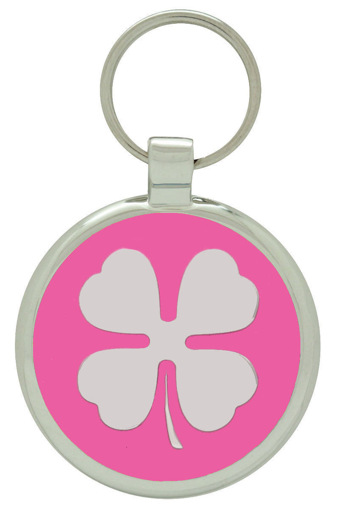 Bright Pink Clover Pet Tag - Pawprint Pet Tags