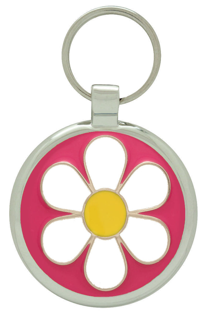 Bright Pink Daisy Pet Tag - Pawprint Pet Tags