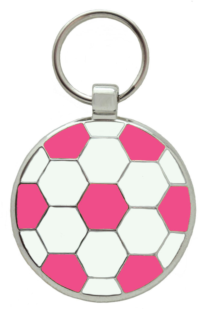 Pink Football Pet Tag - Pawprint Pet Tags