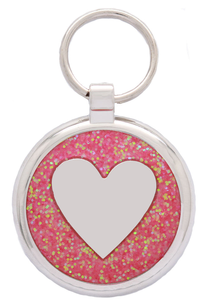 Pink Sparkle Love Heart Pet Tag - Pawprint Pet Tags