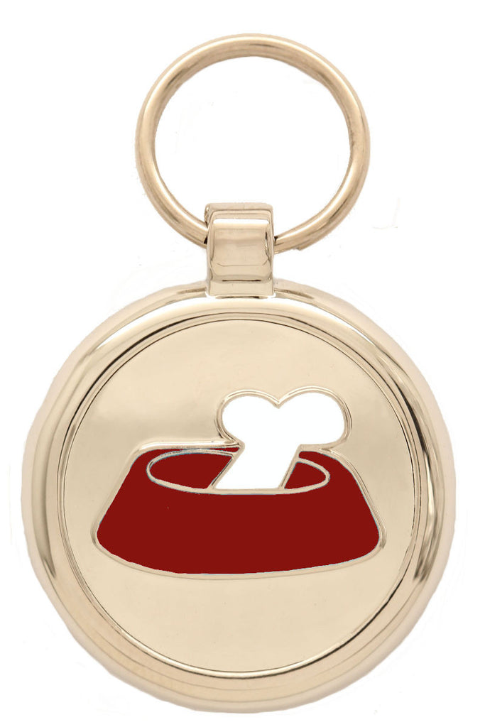 Red Bone'N'Bowl Pet Tag - Pawprint Pet Tags