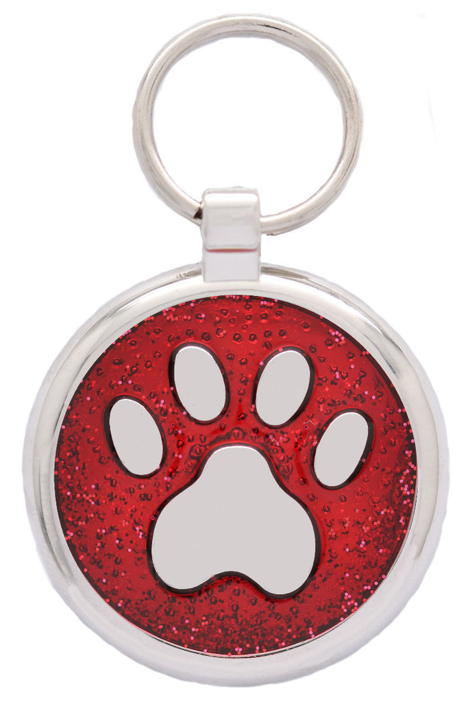 Red Sparkle Pawprint Pet Tag - Pawprint Pet Tags