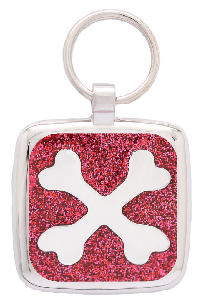 Red Sparkle Crossbone Pet Tag - Pawprint Pet Tags