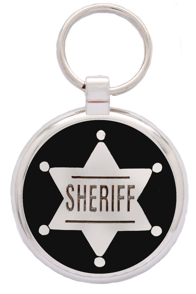 Silver Sheriff Pet Tag - Pawprint Pet Tags