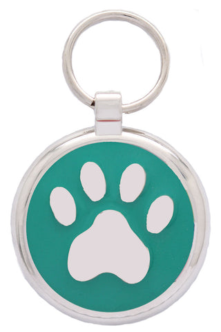 Bright Pink Pawprint Pet Tag