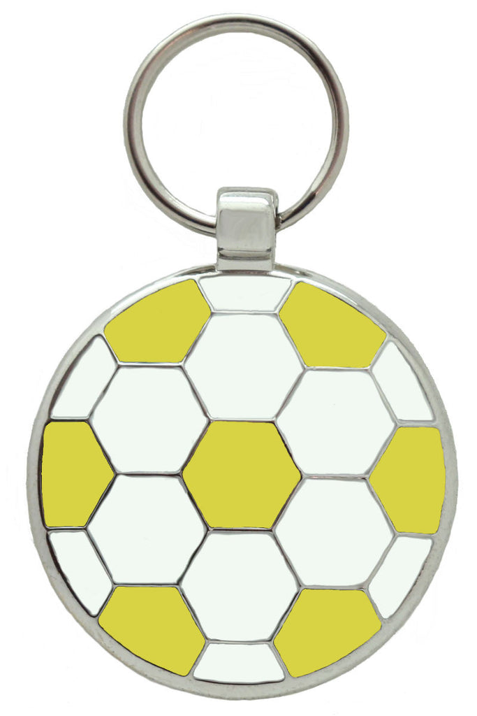 Yellow Football Pet Tag - Pawprint Pet Tags
