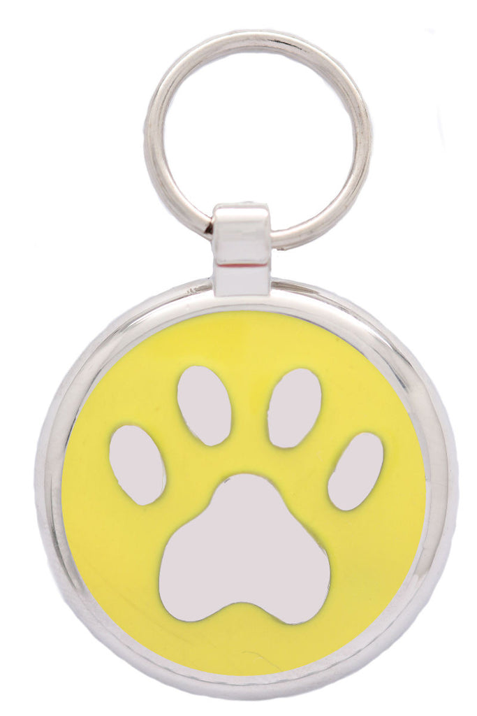 Yellow Pawprint Pet Tag - Pawprint Pet Tags