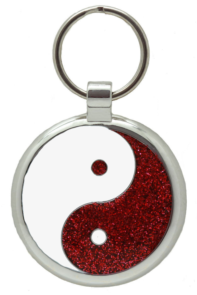 Red Sparkle Yin Yang Pet Tag - Pawprint Pet Tags