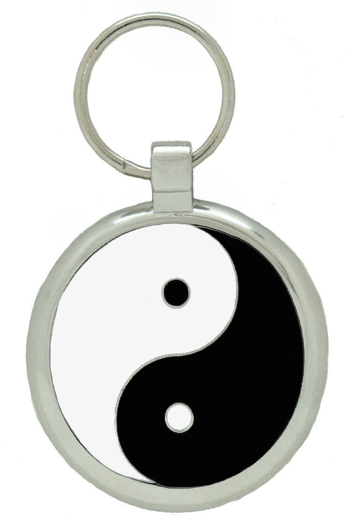 Black Yin Yang Pet Tag - Pawprint Pet Tags