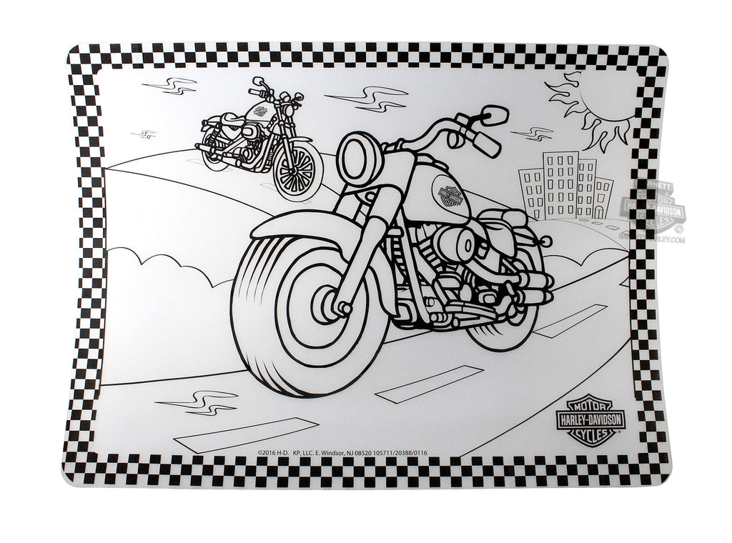 Harley Davidson Color Me Motorcycle Silicone Placemat – Chilkoot ...