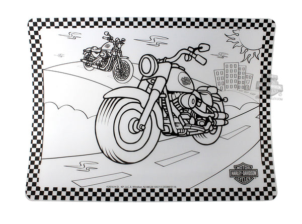 Harley Davidson Color Me Motorcycle Silicone Placemat