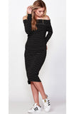 Alexis Dress | Black + White Stripe