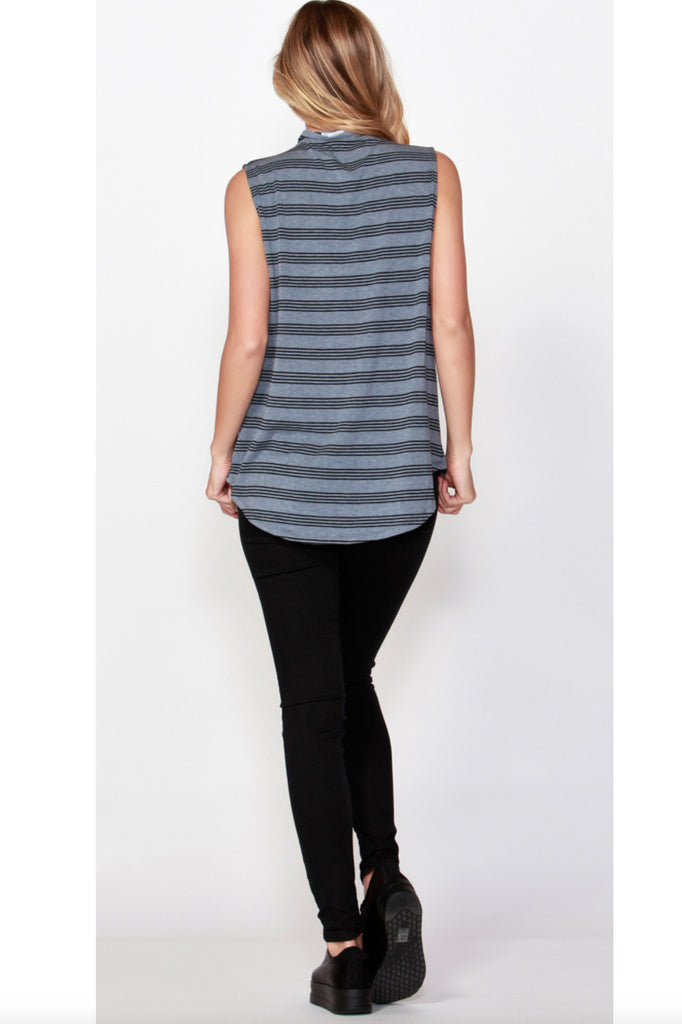 Auckland Tank | Denim + Black Stripe