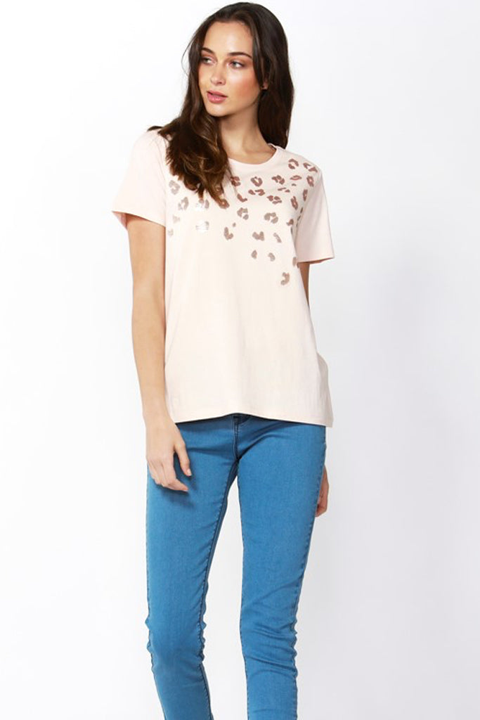 Cara Tee | Blush Sequin Print