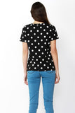 Cara Tee | Black + White Polka Dot