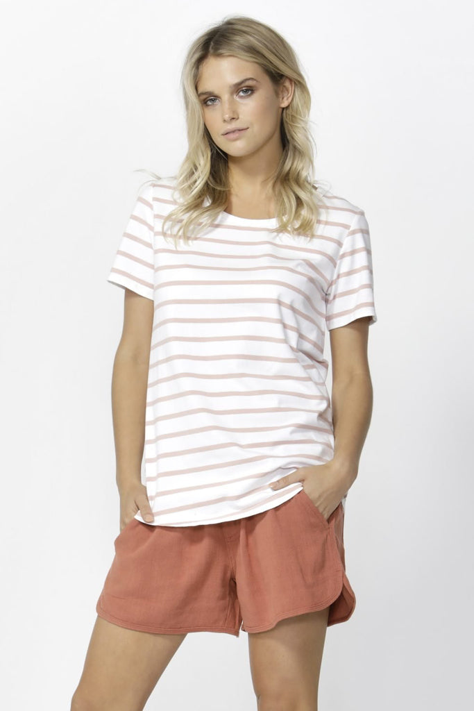 DEMI SCOOP TEE | WHITE + BLUSH STRIPE