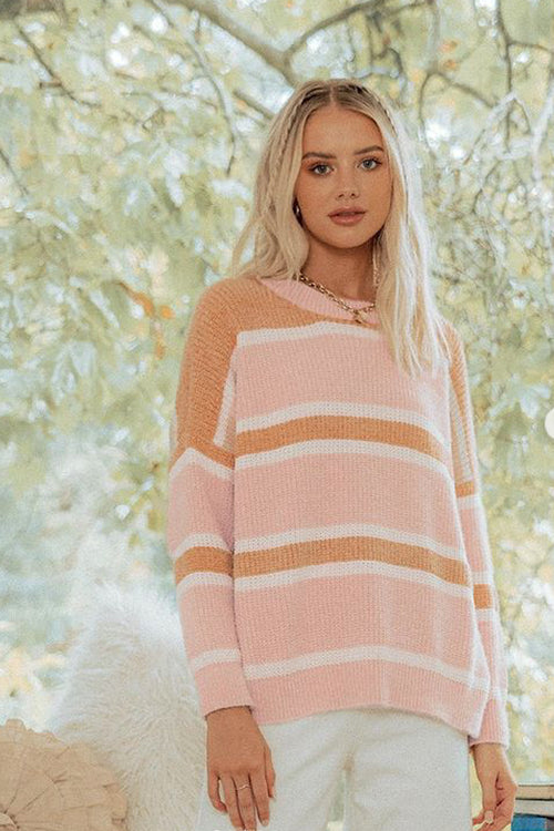 Ginny Knit | Pink + Orange Stripe