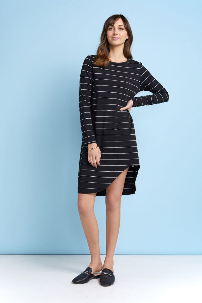 Julesy Dress | Black Stripe