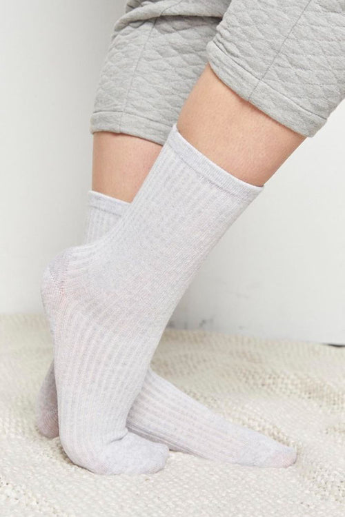 Kate Ribbed Socks | Grey