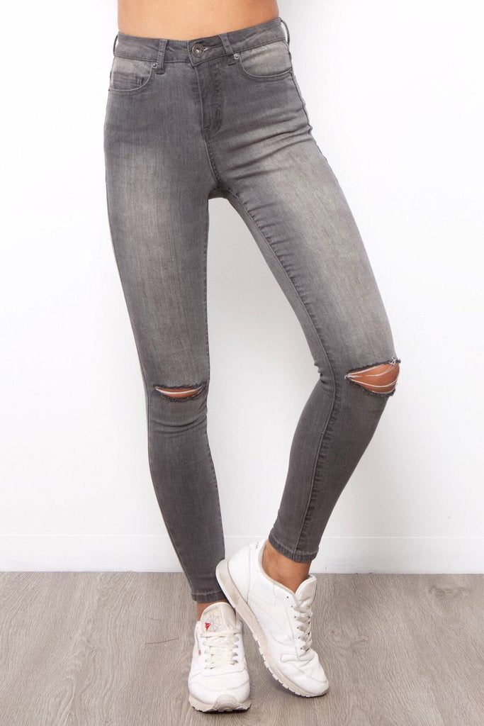 Nadia Jeans | Grey Ripped