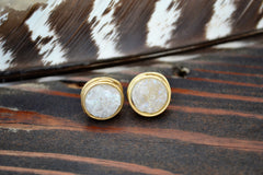 white druzy gold handmade post earring
