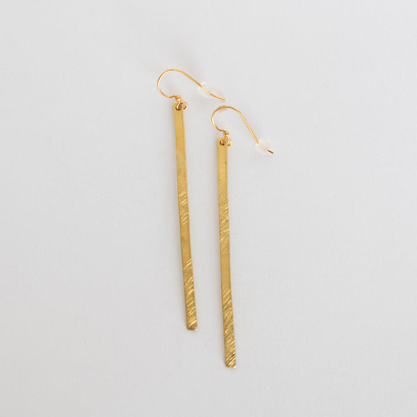 Handcrafted Jewelry-Hammered Brass Bar Earrings/Line Texture